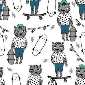 tiger skateboard fabric // skate kids boys fabric childrens illustration fabric andrea lauren - green and blue