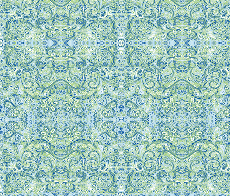PaisleyFantasy blue green white-ed fabric by melisse_pinto_designs on Spoonflower - custom fabric
