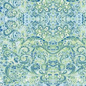 PaisleyFantasy blue green white-ed
