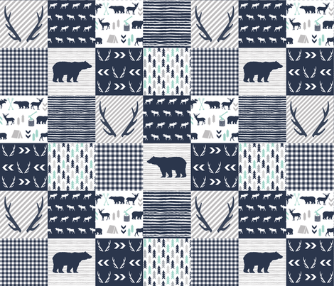 cheater quilt boys antlers hunting bears fabric by charlottewinter on Spoonflower - custom fabric