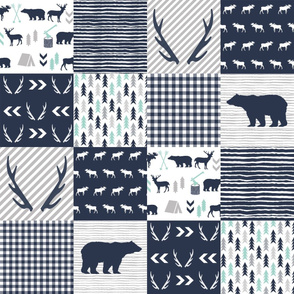 cheater quilt boys antlers hunting bears