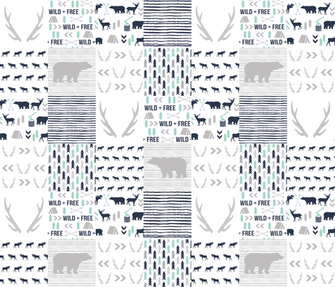 cheater quilt navy grey and white bear hunter antlers boys crib sheet fabric by charlottewinter on Spoonflower - custom fabric