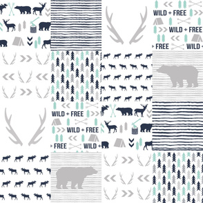 cheater quilt navy grey and white bear hunter antlers boys crib sheet