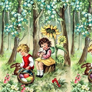 easter good friday forests trees flowers sunflowers children boys girls rabbits bunny bunnies hares eggs baskets grass vintage retro kitsch
