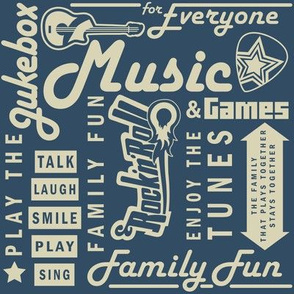 Games and Rock Words Blue