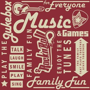 Game Room Word Collage Red