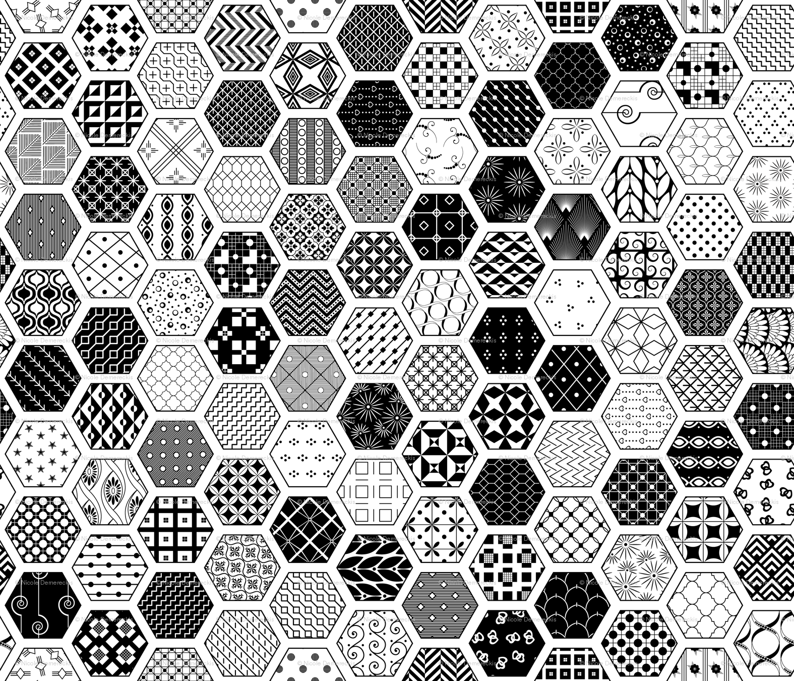 Hexagon modern cheater quilt white black wallpaper wickedrefined spoonflower