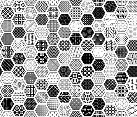 Hexagon Modern Cheater Quilt White Black fabric by wickedrefined on Spoonflower - custom fabric