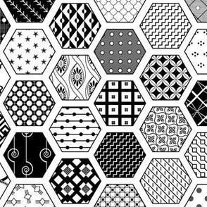 Hexagon Modern Cheater Quilt White Black