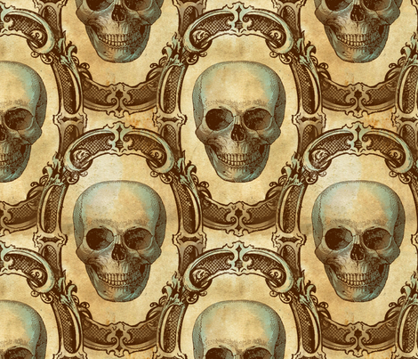 Victorian Skulls fabric by thecalvarium on Spoonflower - custom fabric