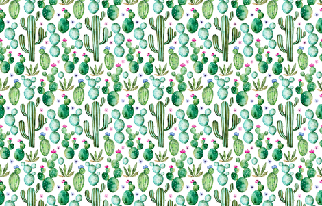 Watercolour Cactus fabric by littlelambandivy on Spoonflower - custom fabric