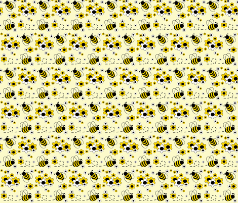 Honey Bumble Bee Yellow White Floral fabric by decamp_studios on Spoonflower - custom fabric