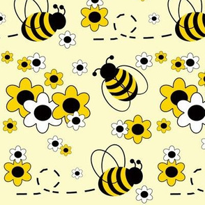 Honey Bumble Bee Yellow White Floral