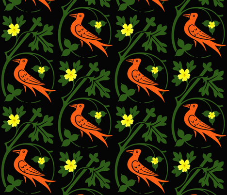 Woodcut birds fabric by redthanet on Spoonflower - custom fabric