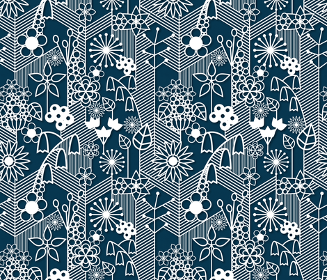 Bluebells of the paper planet fabric lydesign spoonflower for Planet print fabric