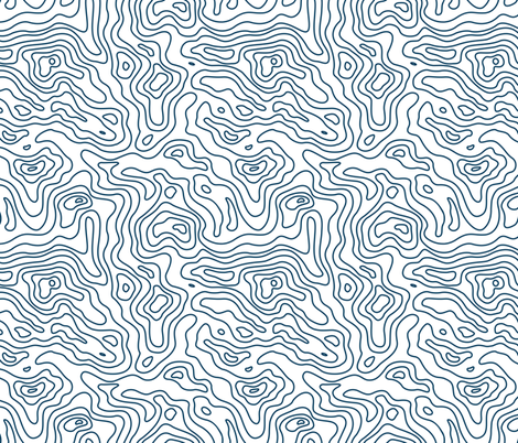 Dark Navy Royal Blue and White Stripes Wave Elevation Topographic Topo Map Pattern  fabric by khaus on Spoonflower - custom fabric