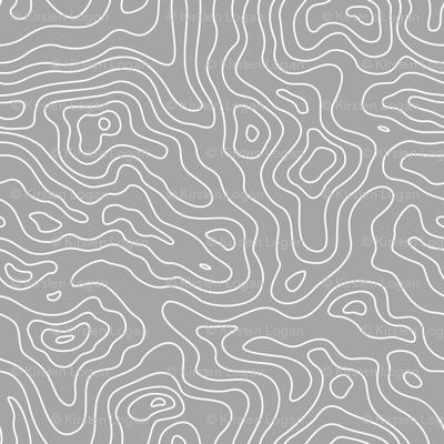 Gray Grey and White Stripes Wave Elevation Topographic Topo Map Pattern