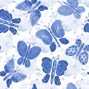 Blue Painted Butterflies