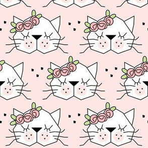 kitty faces with rosebuds on pink