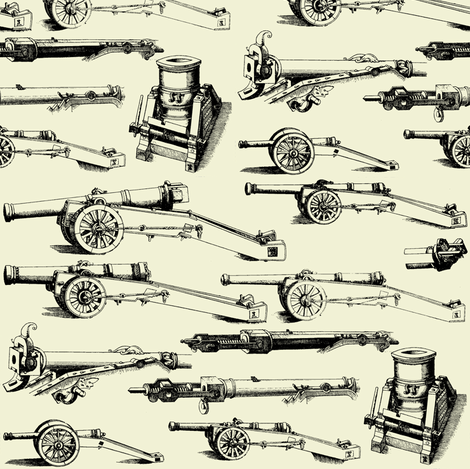 Olde Artillerie on Parchment // Small fabric by thinlinetextiles on Spoonflower - custom fabric