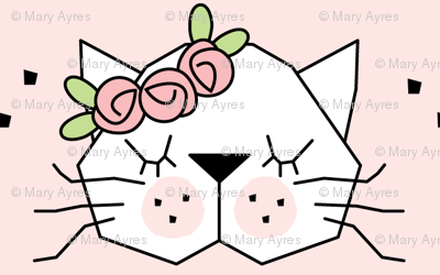small kitty faces with rosebuds on pink