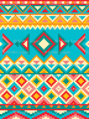 Aztec Tribal Native American Mexican Mayan Boho Pattern