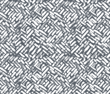Brushstrokes Painterly Woven Weave Basket Chevron Pattern Grey Gray and White fabric by khaus on Spoonflower - custom fabric