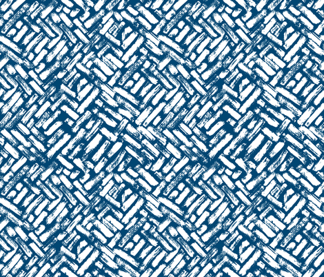 Brushstrokes Painterly Woven Weave Basket Chevron Pattern White and Blue fabric by furbuddy on Spoonflower - custom fabric