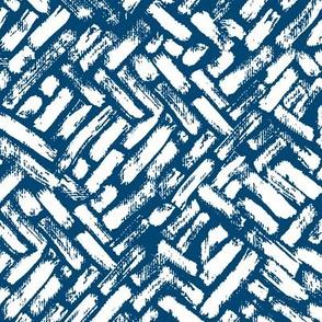 Brushstrokes Painterly Woven Weave Basket Chevron Pattern White and Blue