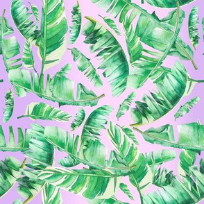 "8"" Tropical Leaves / Pink to Lavender Gradient"