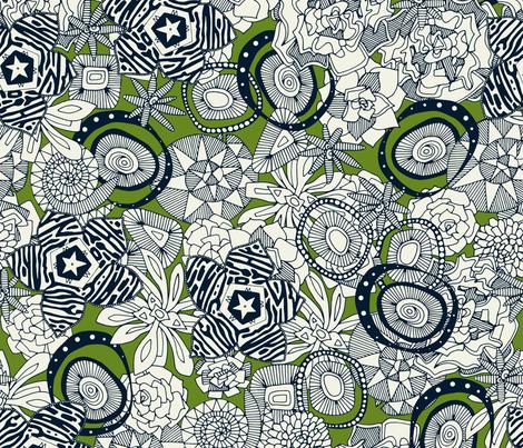 succulents green indigo fabric by scrummy on Spoonflower - custom fabric