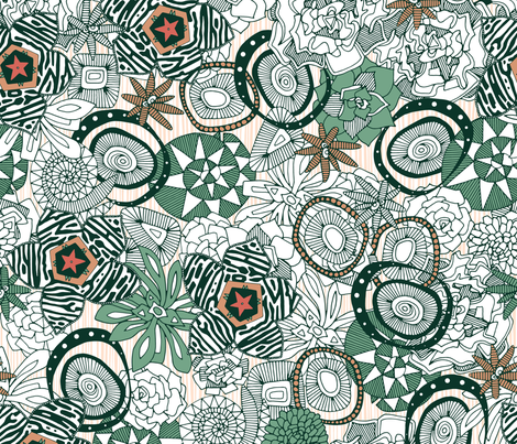 succulents limited fabric by scrummy on Spoonflower - custom fabric
