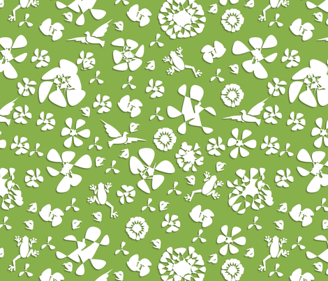white paper flowers fabric by pamelachi on Spoonflower - custom fabric