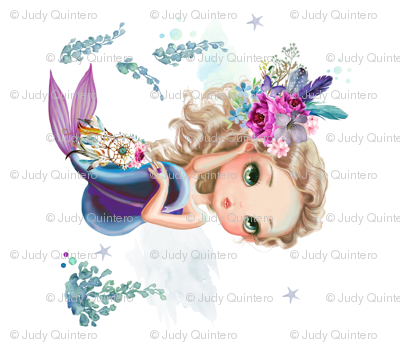 "17""x17"" Lilac Mermaid / No Quote"