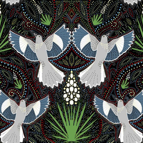 Mockingbird and yucca blossom damask