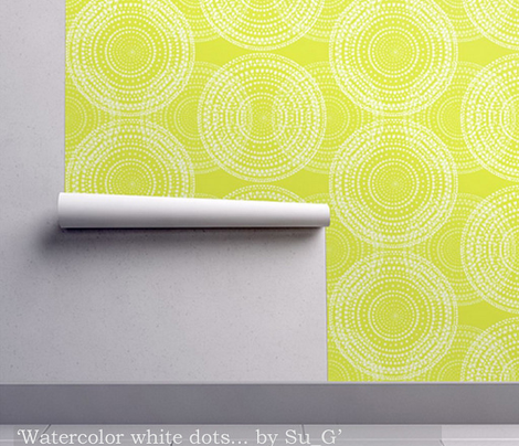 Watercolor white dots in overlapping circles on a bright yellow-green by Su_G_©SuSchaefer