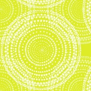 Watercolor white dots in overlapping circles on a bright yellow-green by Su_G