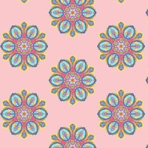 Fancy Fantasy Flowers on Dawn Blush Pink