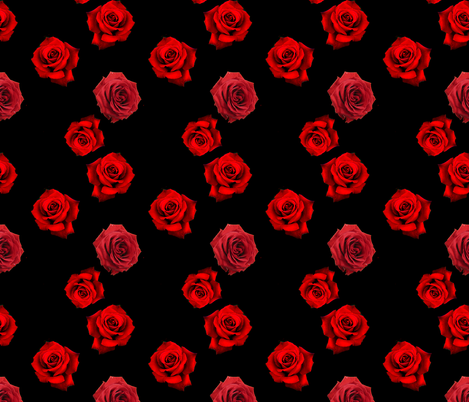 Scattered Red Roses on Black fabric by whimzwhirled on Spoonflower - custom fabric