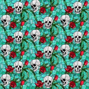 Skull and Rose Art Glass