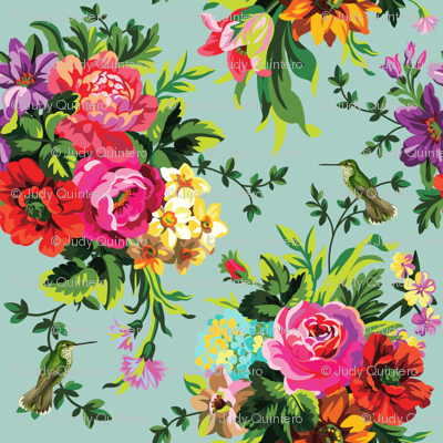 """8"""" Floral Pop with Birds / Green"""