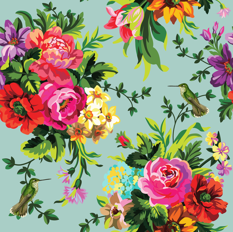 """8"""" Floral Pop with Birds / Green fabric by shopcabin on Spoonflower - custom fabric"""