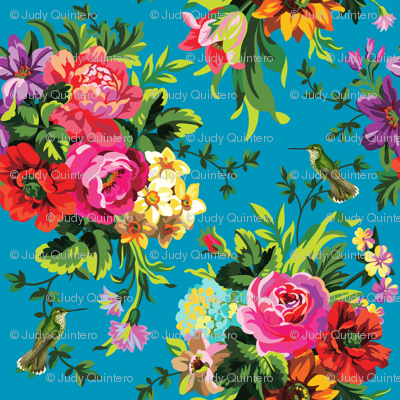 """8"""" Floral Pop with Birds / Aqua Blue"""