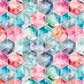 Translucent Watercolor Hexagon Cubes small version