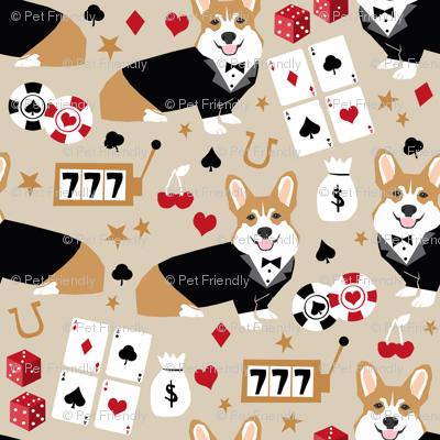 corgi casino fabric corgi dog pets slot machines corgis dog - sand