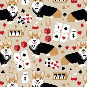 corgi casino fabric corgi dog pets slot machines corgis dog - sand