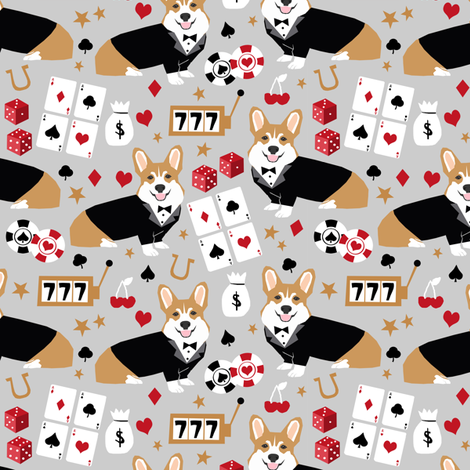 corgi casino fabric corgi dog pets slot machines corgis dog - grey fabric by petfriendly on Spoonflower - custom fabric
