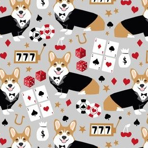 corgi casino fabric corgi dog pets slot machines corgis dog - grey