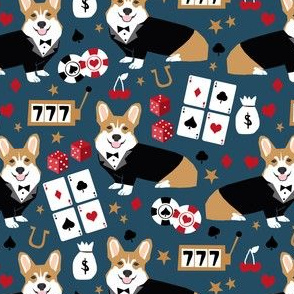 corgi casino fabric corgi dog pets slot machines corgis dog - dark blue