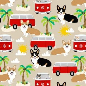 corgi beach fabric beach summer fabric palm trees sand summer dog fabric